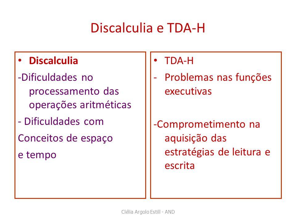 Discalculia e TDA-H • Discalculia -Dificuldades no processamento das operações aritméticas - Dificuldades com Conceitos de espaço e tempo • TDA-H -Pro