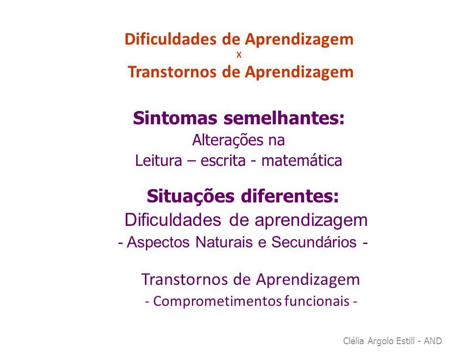 Dificuldades de Aprendizagem X Transtornos de Aprendizagem Clélia Argolo Estill - AND Sintomas semelhantes: Alterações na Leitura – escrita - matemáti