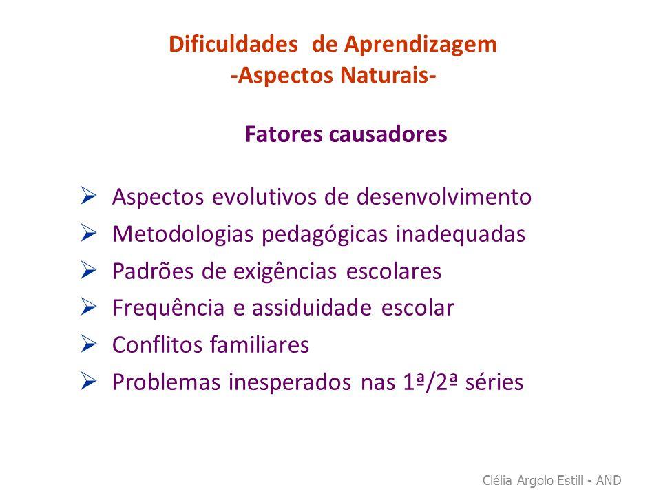 Dificuldades de Aprendizagem -Aspectos Naturais- Fatores causadores  Aspectos evolutivos de desenvolvimento  Metodologias pedagógicas inadequadas 