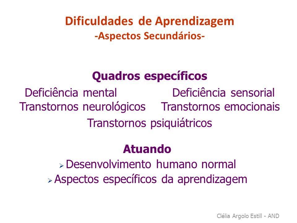 Transtornos da Aprendizagem Conceituações: DSM - IV / CID X DSM-V/OMS Linguagem: F80.0 – F80.2; Dislexia: F81.0; Disgrafia: F81.1; Discalculia: F81.2  Comprometimentos específicos e significativos nas habilidades escolares - leitura - escrita – matemática -  Comprometimentos específicos não decorrentes de outros transtornos  Podem coexistir com outros transtornos  Podem persistir até a idade adulta Clélia Argolo Estill - AND