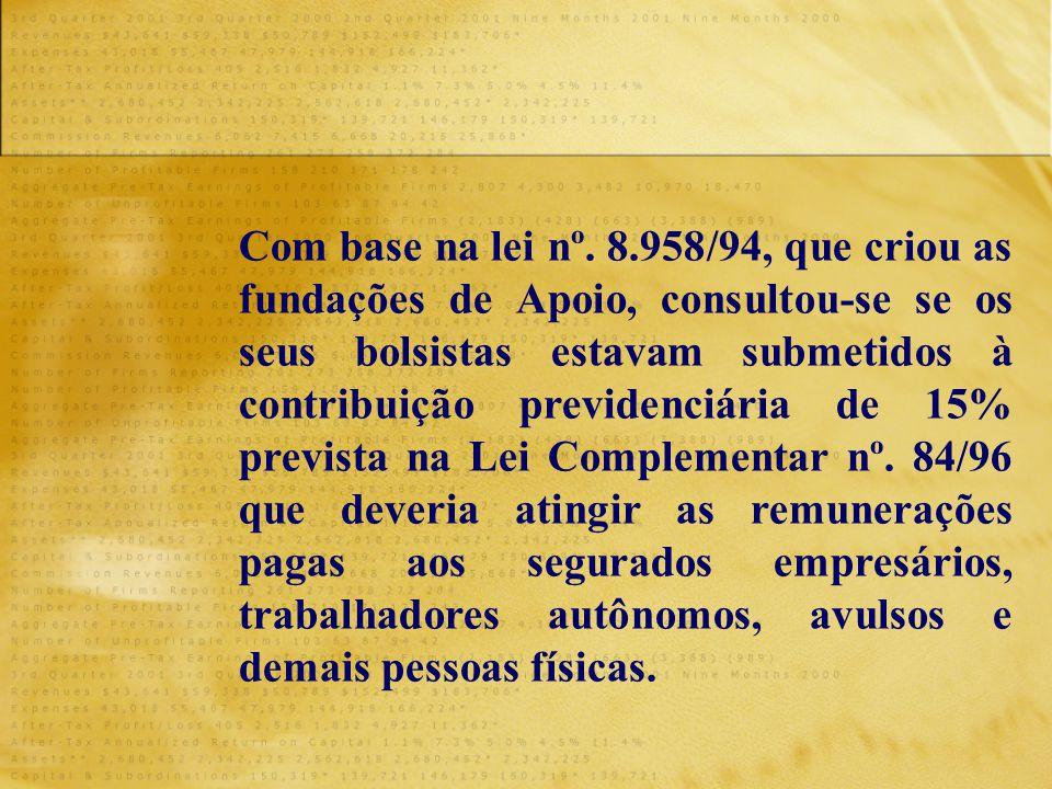 Com base na lei nº. 8.958/94, que criou as fundações de Apoio, consultou-se se os seus bolsistas estavam submetidos à contribuição previdenciária de 1