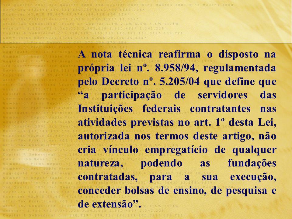"""A nota técnica reafirma o disposto na própria lei nº. 8.958/94, regulamentada pelo Decreto nº. 5.205/04 que define que """"a participação de servidores d"""
