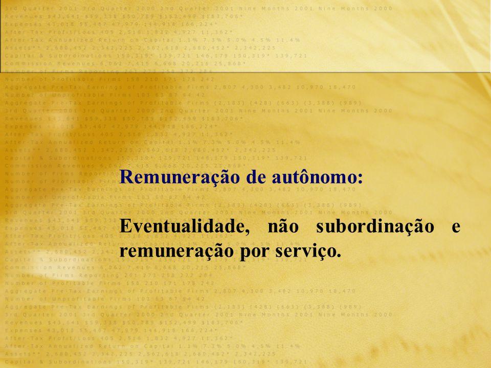 Remuneração de autônomo: Eventualidade, não subordinação e remuneração por serviço.