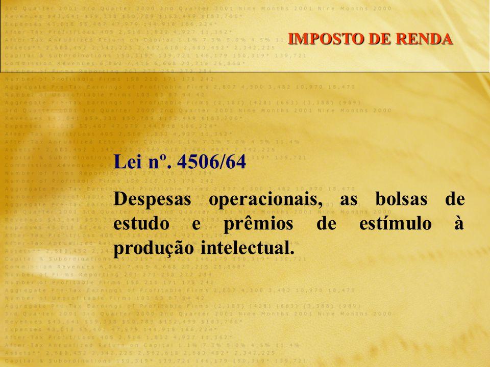 Lei nº. 4506/64 Despesas operacionais, as bolsas de estudo e prêmios de estímulo à produção intelectual. IMPOSTO DE RENDA