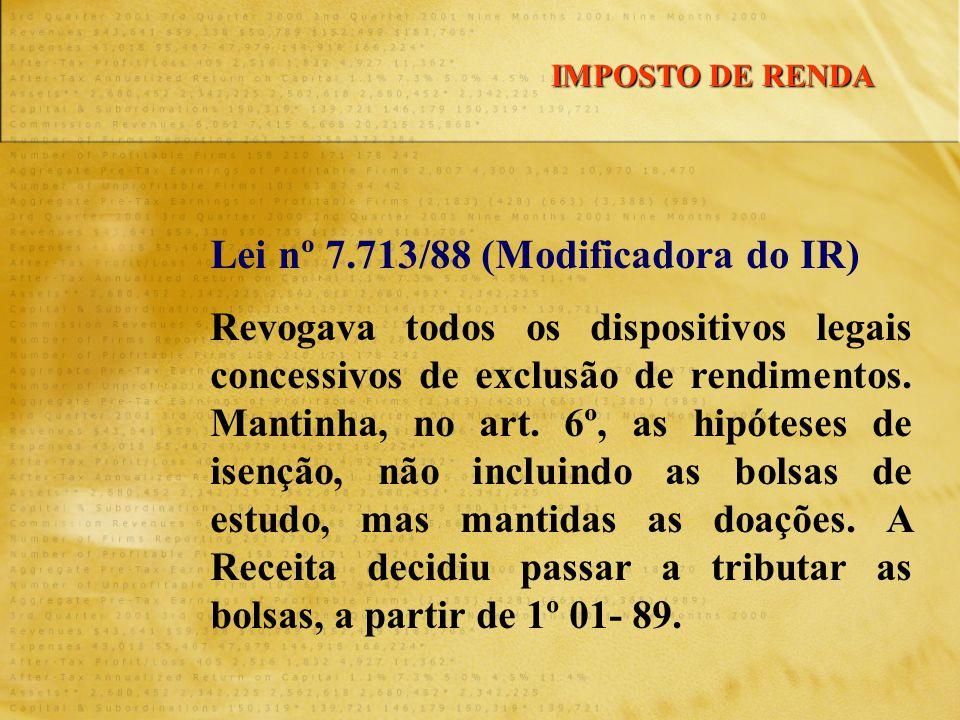 Lei nº 7.713/88 (Modificadora do IR) Revogava todos os dispositivos legais concessivos de exclusão de rendimentos. Mantinha, no art. 6º, as hipóteses