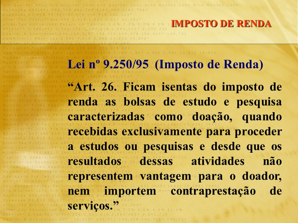 Lei nº 9.250/95 (Imposto de Renda) Art.26.