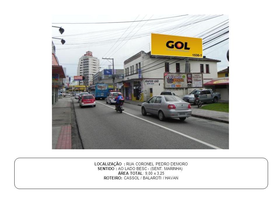 LOCALIZAÇÃO : RUA CORONEL PEDRO DEMORO SENTIDO : AO LADO BESC - (SENT. MARINHA) ÁREA TOTAL: 9,00 x 3,25 ROTEIRO: CASSOL / BALAROTI / HAVAN