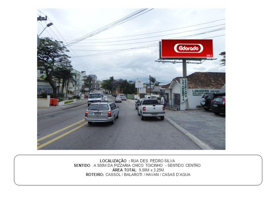 LOCALIZAÇÃO : RUA DES. PEDRO SILVA SENTIDO : A 500M DA PIZZARIA CHICO TOICINHO - SENTIDO CENTRO ÁREA TOTAL: 9,00M x 3,25M ROTEIRO: CASSOL / BALAROTI /