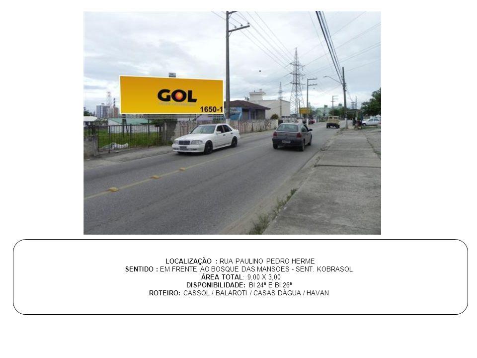 LOCALIZAÇÃO : RUA PAULINO PEDRO HERME SENTIDO : EM FRENTE AO BOSQUE DAS MANSOES - SENT. KOBRASOL ÁREA TOTAL: 9,00 X 3,00 DISPONIBILIDADE: BI 24ª E BI