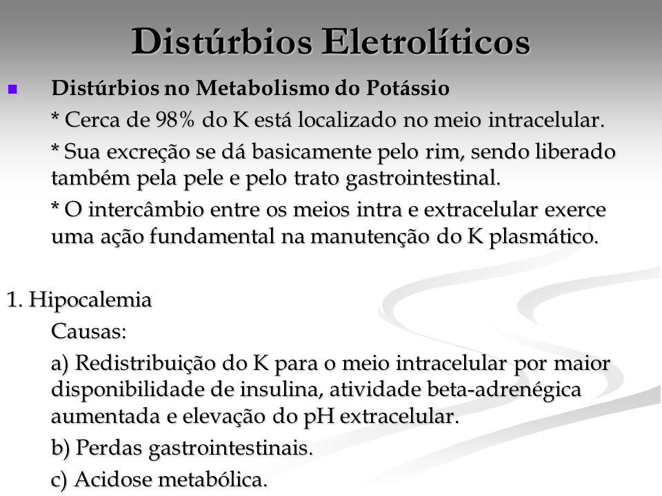 Distúrbios Eletrolíticos  Distúrbios no Metabolismo do Potássio * Cerca de 98% do K está localizado no meio intracelular.