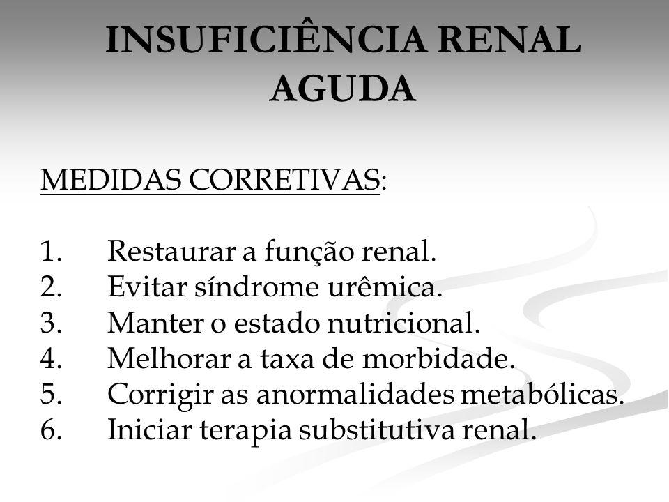 INSUFICIÊNCIA RENAL AGUDA MEDIDAS CORRETIVAS: 1.Restaurar a função renal. 2.Evitar síndrome urêmica. 3.Manter o estado nutricional. 4.Melhorar a taxa