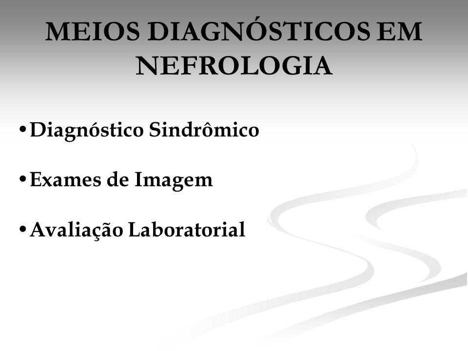 MEIOS DIAGNÓSTICOS EM NEFROLOGIA • Diagnóstico Sindrômico • Exames de Imagem • Avaliação Laboratorial
