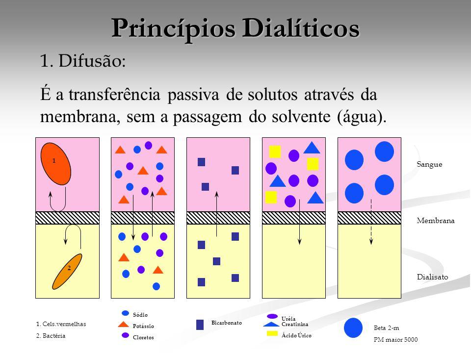 Princípios Dialíticos 1. Difusão: É a transferência passiva de solutos através da membrana, sem a passagem do solvente (água). 1 2 Sódio Potássio Clor