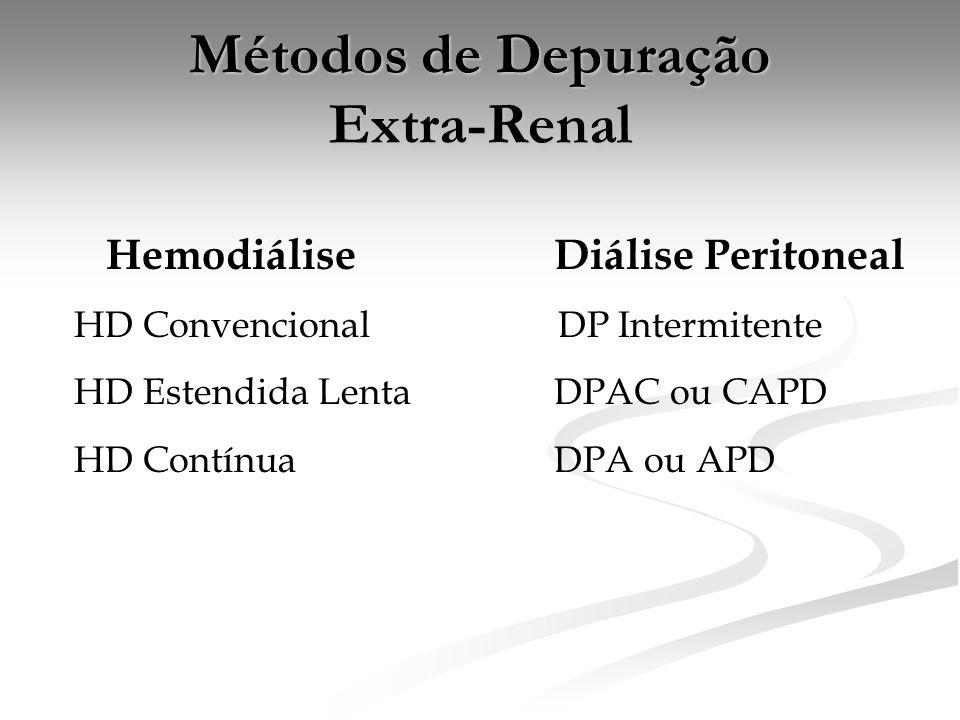 Métodos de Depuração Extra-Renal HemodiáliseDiálise Peritoneal HD Convencional DP Intermitente HD Estendida LentaDPAC ou CAPD HD ContínuaDPA ou APD
