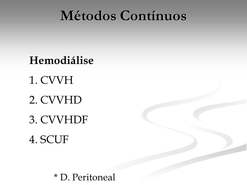 Métodos Contínuos Hemodiálise 1. CVVH 2. CVVHD 3. CVVHDF 4. SCUF * D. Peritoneal
