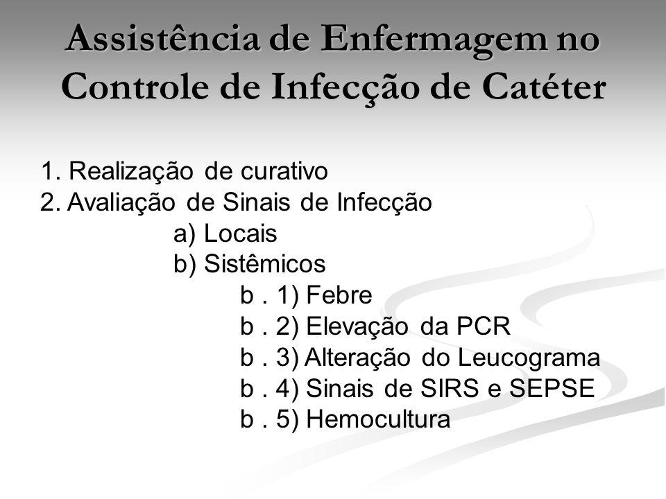 Assistência de Enfermagem no Controle de Infecção de Catéter 1. Realização de curativo 2. Avaliação de Sinais de Infecção a) Locais b) Sistêmicos b. 1