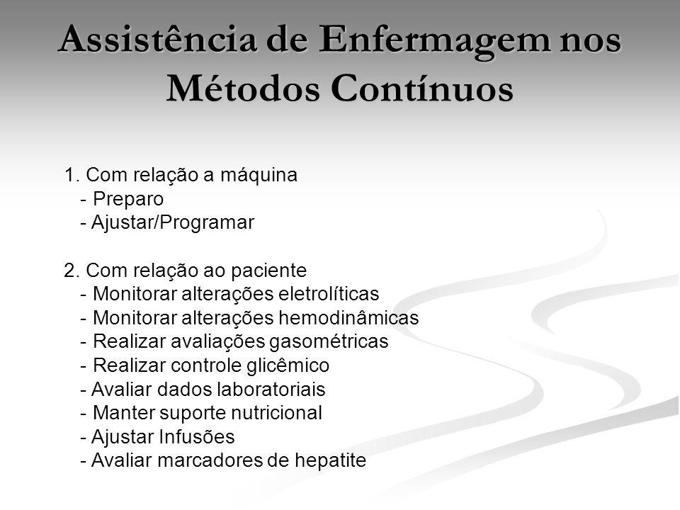 Assistência de Enfermagem nos Métodos Contínuos 1. Com relação a máquina - Preparo - Ajustar/Programar 2. Com relação ao paciente - Monitorar alteraçõ
