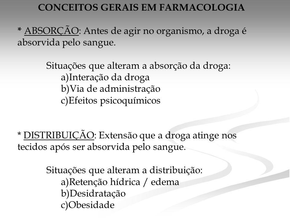 CONCEITOS GERAIS EM FARMACOLOGIA * ABSORÇÃO: Antes de agir no organismo, a droga é absorvida pelo sangue. Situações que alteram a absorção da droga: a