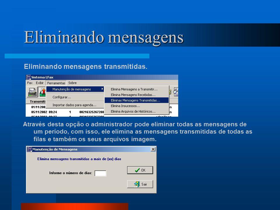 Eliminando mensagens Eliminando mensagens transmitidas. Através desta opção o administrador pode eliminar todas as mensagens de um período, com isso,