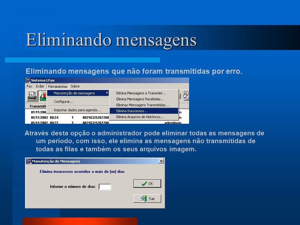 Eliminando mensagens Eliminando mensagens que não foram transmitidas por erro. Através desta opção o administrador pode eliminar todas as mensagens de