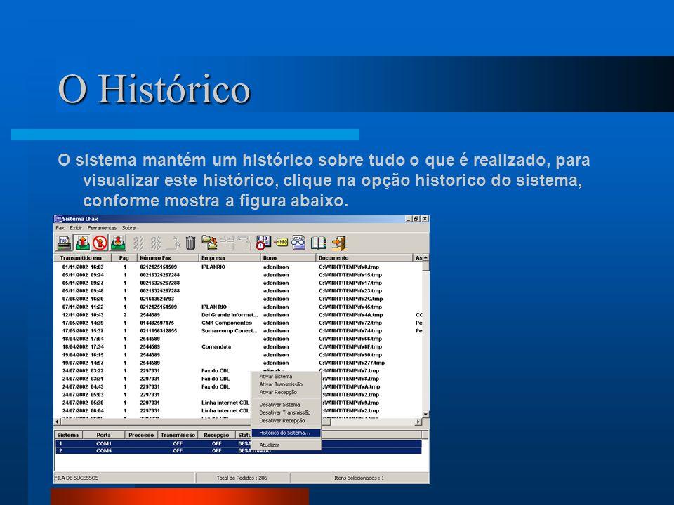 O Histórico O sistema mantém um histórico sobre tudo o que é realizado, para visualizar este histórico, clique na opção historico do sistema, conforme mostra a figura abaixo.