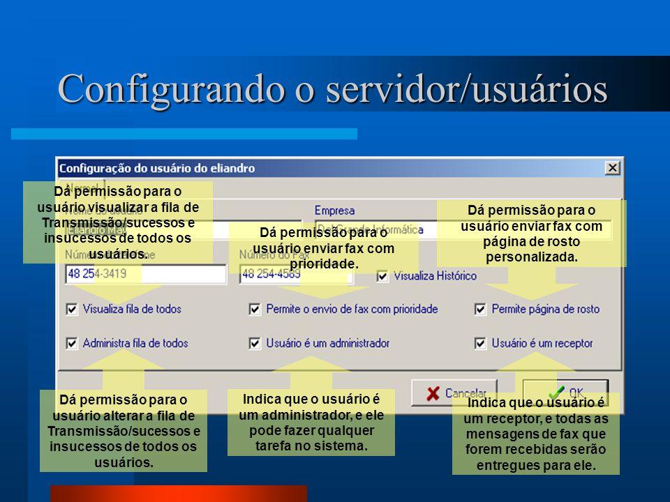Configurando o servidor/usuários Dá permissão para o usuário visualizar a fila de Transmissão/sucessos e insucessos de todos os usuários. Dá permissão