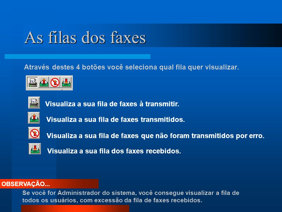 As filas dos faxes Através destes 4 botões você seleciona qual fila quer visualizar. Visualiza a sua fila de faxes à transmitir. Visualiza a sua fila