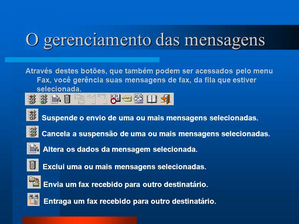 O gerenciamento das mensagens Através destes botões, que também podem ser acessados pelo menu Fax, você gerência suas mensagens de fax, da fila que es
