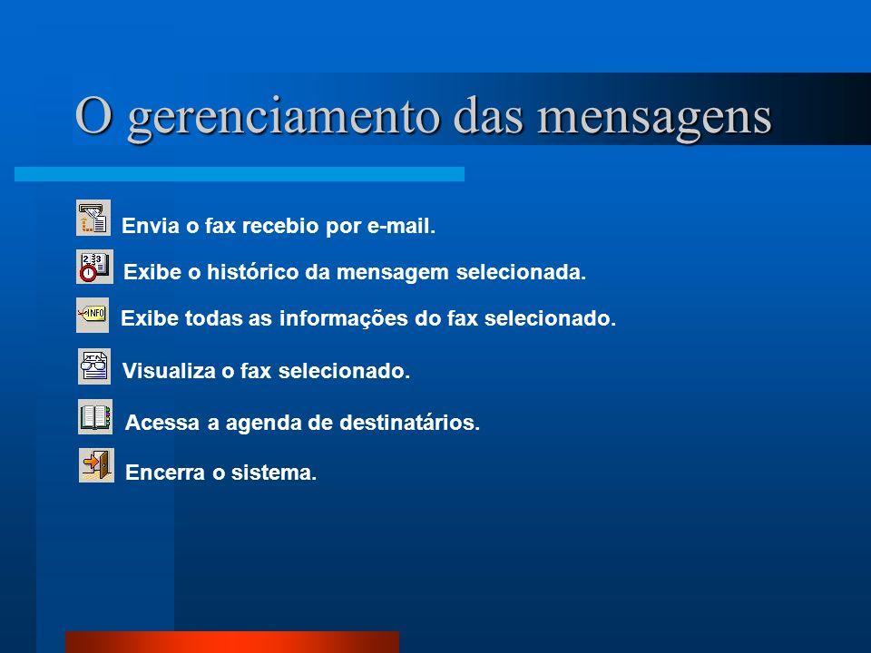O gerenciamento das mensagens Envia o fax recebio por e-mail. Exibe o histórico da mensagem selecionada. Exibe todas as informações do fax selecionado