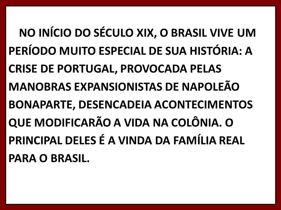 NO INÍCIO DO SÉCULO XIX, O BRASIL VIVE UM PERÍODO MUITO ESPECIAL DE SUA HISTÓRIA: A CRISE DE PORTUGAL, PROVOCADA PELAS MANOBRAS EXPANSIONISTAS DE NAPO