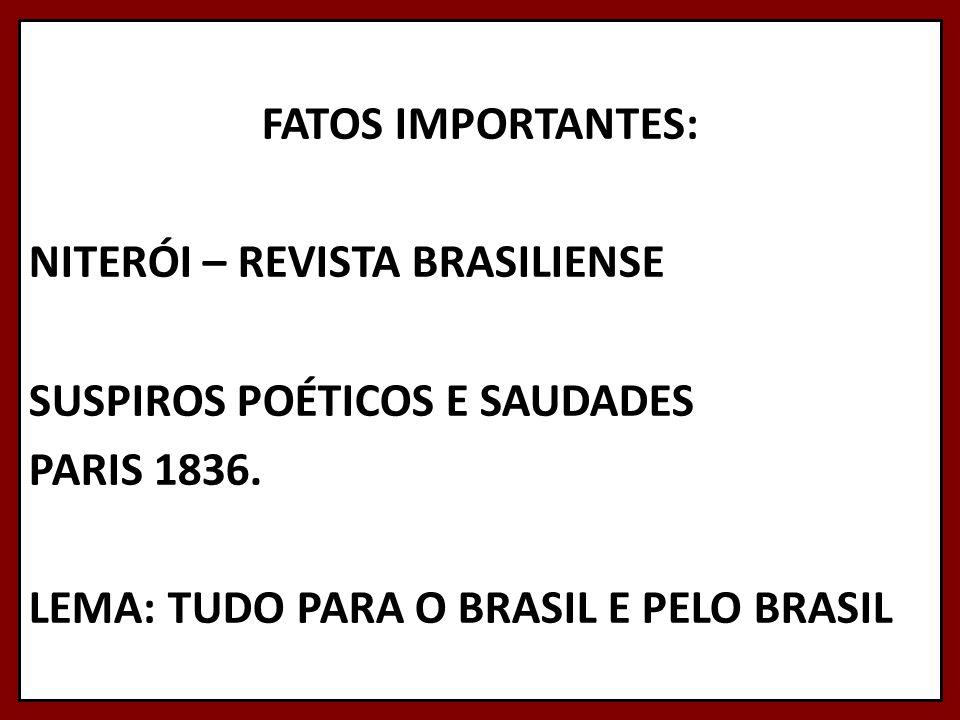FATOS IMPORTANTES: NITERÓI – REVISTA BRASILIENSE SUSPIROS POÉTICOS E SAUDADES PARIS 1836. LEMA: TUDO PARA O BRASIL E PELO BRASIL