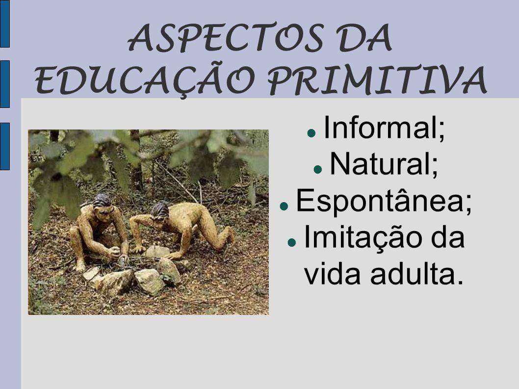 ASPECTOS DA EDUCAÇÃO PRIMITIVA  Informal;  Natural;  Espontânea;  Imitação da vida adulta.