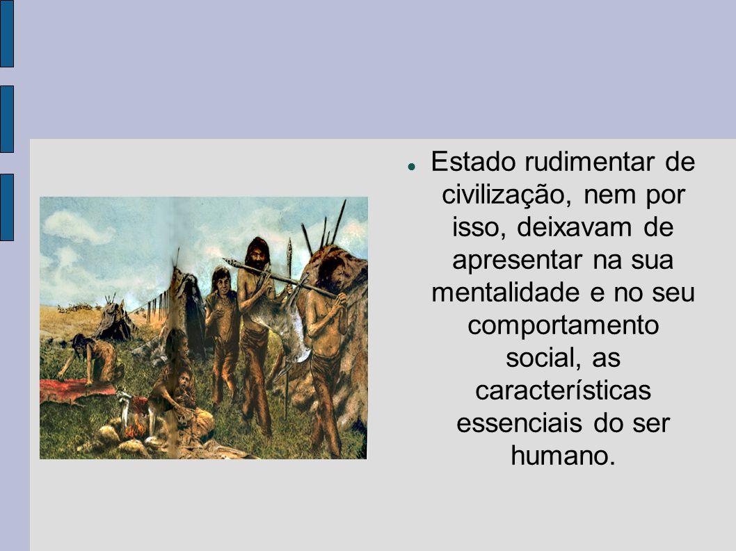  Estado rudimentar de civilização, nem por isso, deixavam de apresentar na sua mentalidade e no seu comportamento social, as características essenciais do ser humano.