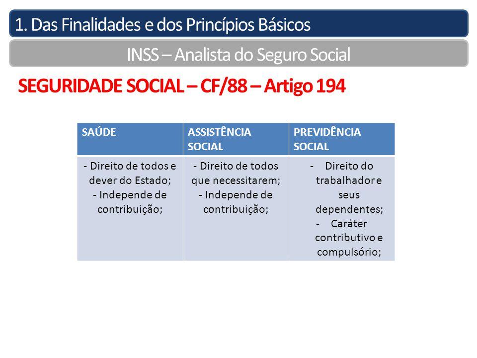 1. Das Finalidades e dos Princípios Básicos INSS – Analista do Seguro Social SEGURIDADE SOCIAL – CF/88 – Artigo 194 SAÚDEASSISTÊNCIA SOCIAL PREVIDÊNCI