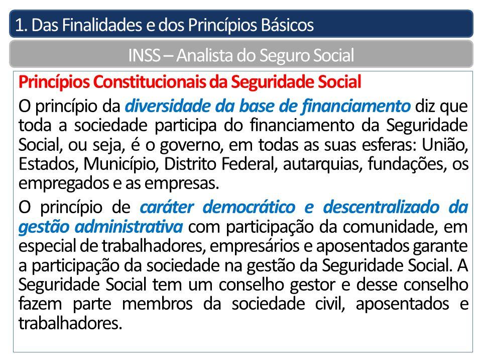 1. Das Finalidades e dos Princípios Básicos INSS – Analista do Seguro Social Princípios Constitucionais da Seguridade Social O princípio da diversidad