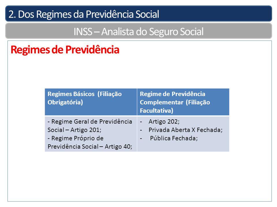 2. Dos Regimes da Previdência Social INSS – Analista do Seguro Social Regimes de Previdência Regimes Básicos (Filiação Obrigatória) Regime de Previdên