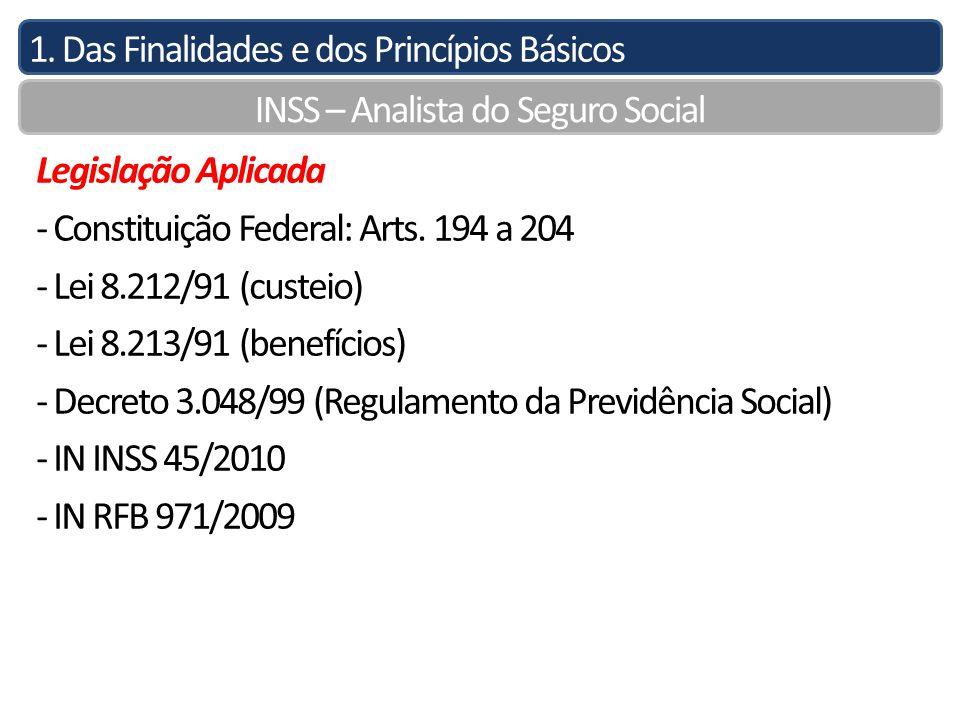 1. Das Finalidades e dos Princípios Básicos INSS – Analista do Seguro Social Legislação Aplicada - Constituição Federal: Arts. 194 a 204 - Lei 8.212/9