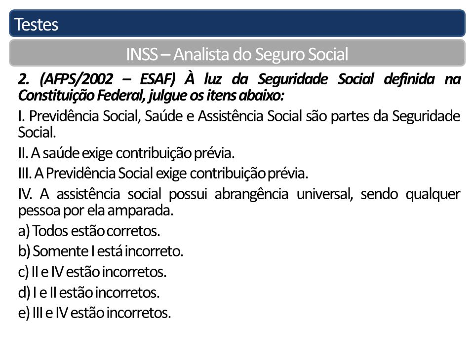Testes INSS – Analista do Seguro Social 2.