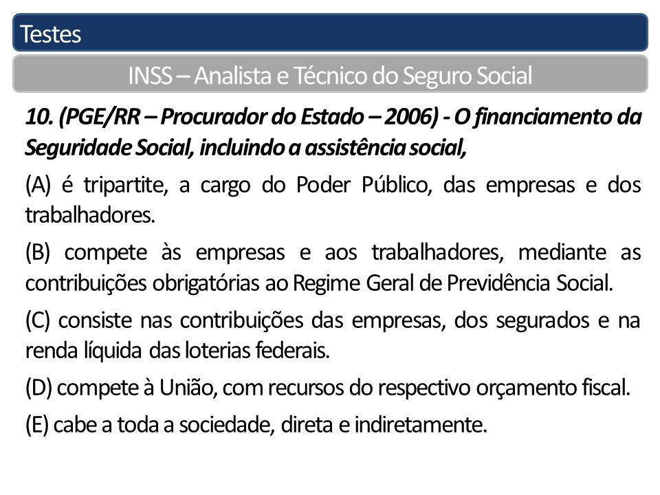 Testes INSS – Analista e Técnico do Seguro Social 10. (PGE/RR – Procurador do Estado – 2006) - O financiamento da Seguridade Social, incluindo a assis