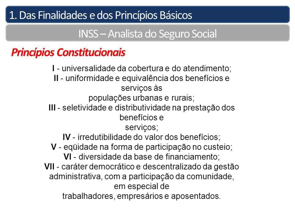 1. Das Finalidades e dos Princípios Básicos INSS – Analista do Seguro Social Princípios Constitucionais I - universalidade da cobertura e do atendimen