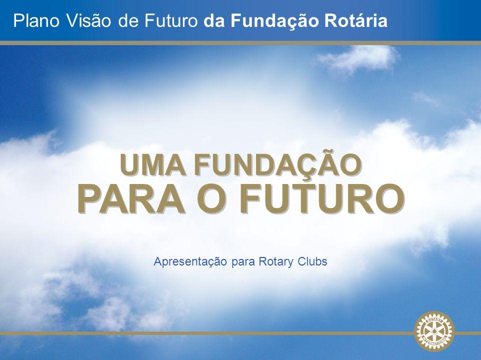 Apresentação para Rotary Clubs Plano Visão de Futuro da Fundação Rotária UMA FUNDAÇÃO PARA O FUTURO