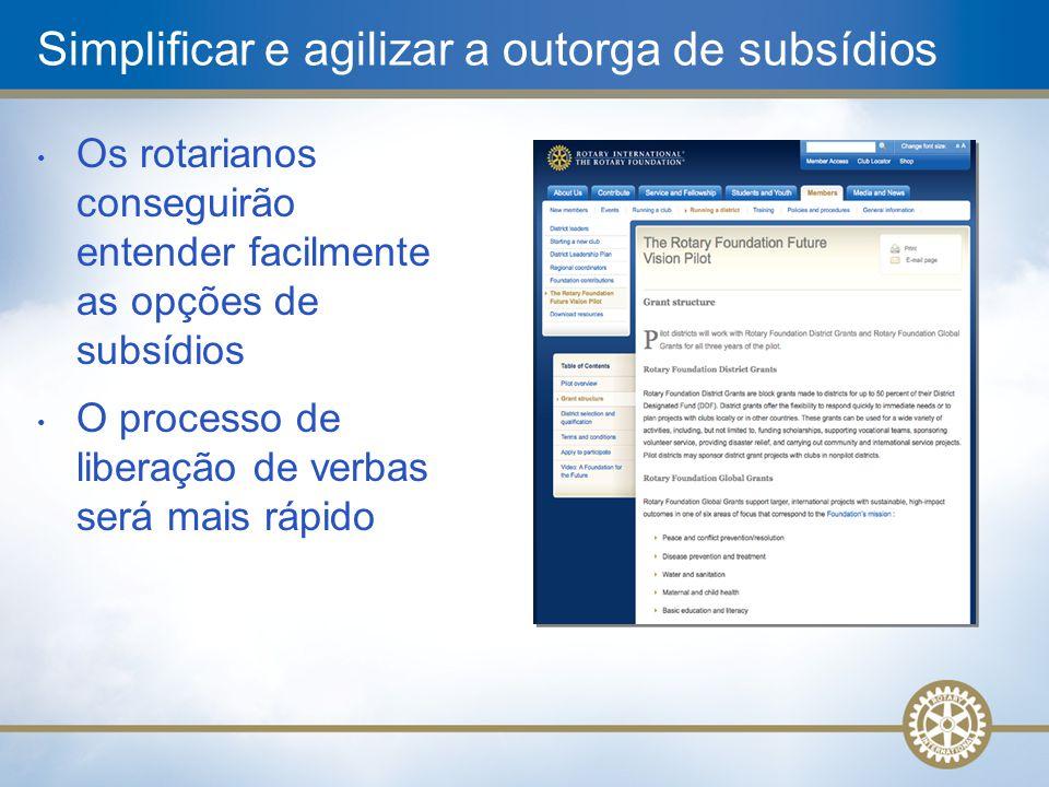 Simplificar e agilizar a outorga de subsídios • Os rotarianos conseguirão entender facilmente as opções de subsídios • O processo de liberação de verb