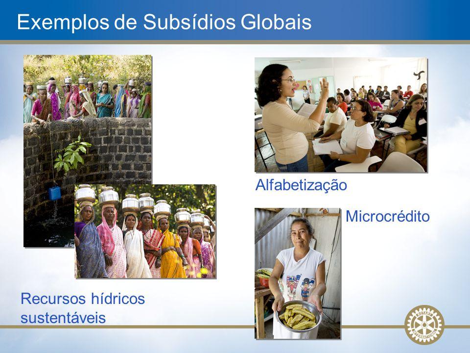 Recursos hídricos sustentáveis Exemplos de Subsídios Globais Alfabetização Microcrédito
