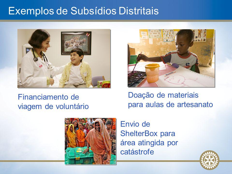 Exemplos de Subsídios Distritais Financiamento de viagem de voluntário Doação de materiais para aulas de artesanato Envio de ShelterBox para área atin