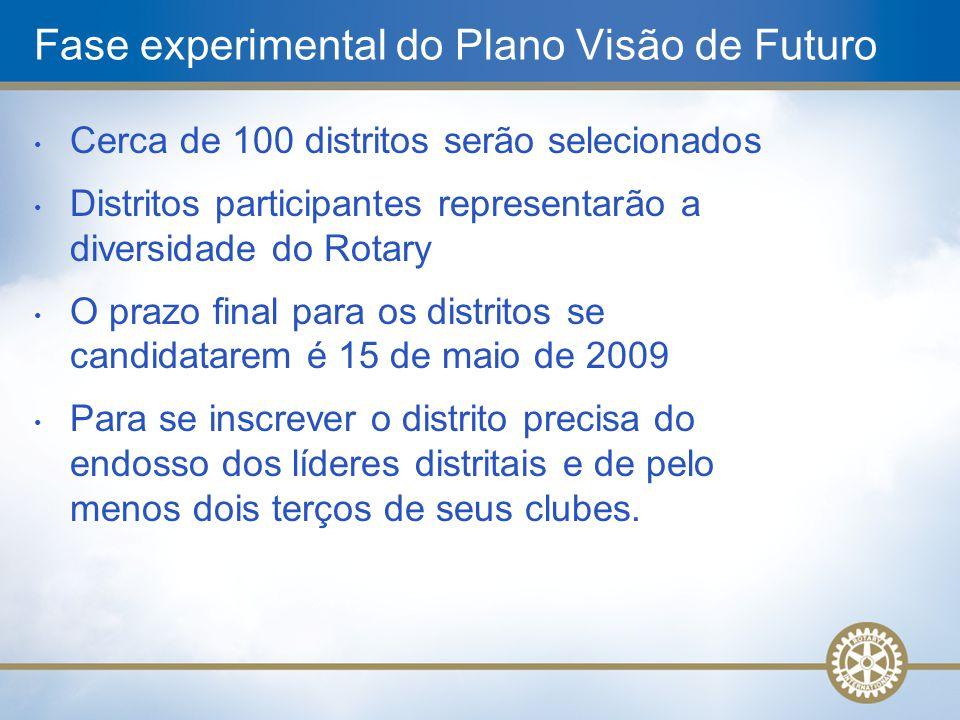 • Cerca de 100 distritos serão selecionados • Distritos participantes representarão a diversidade do Rotary • O prazo final para os distritos se candi