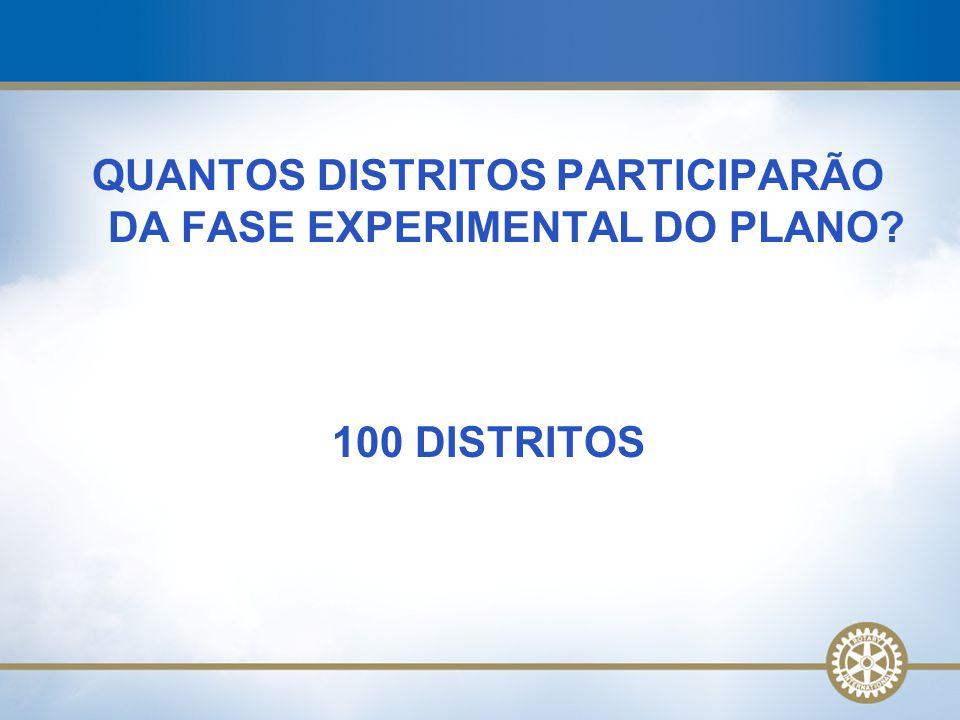 QUANTOS DISTRITOS PARTICIPARÃO DA FASE EXPERIMENTAL DO PLANO? 100 DISTRITOS