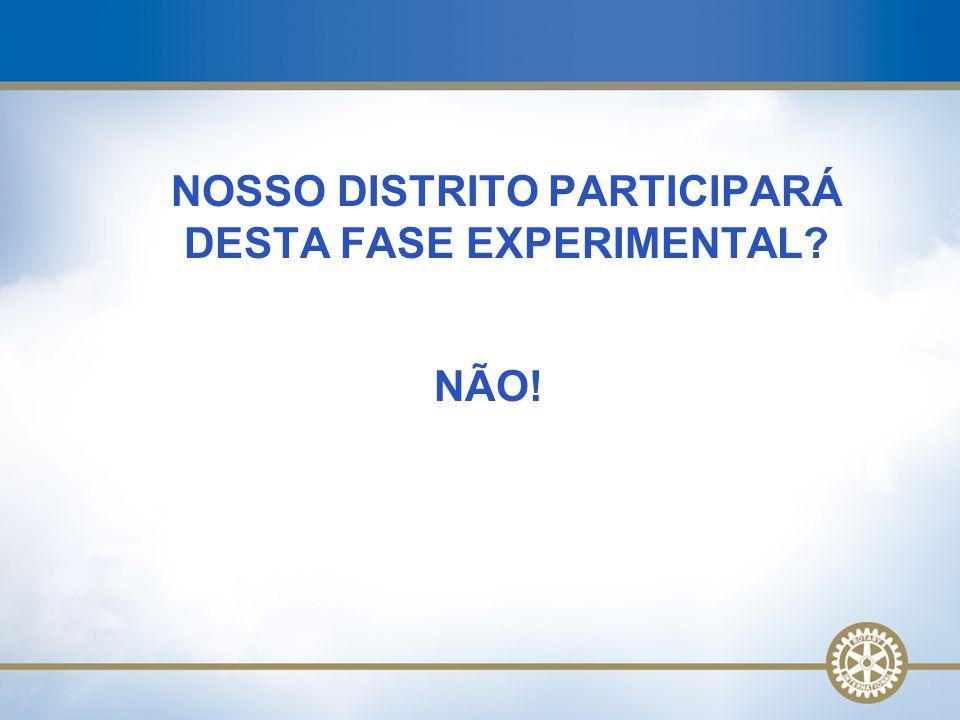 NOSSO DISTRITO PARTICIPARÁ DESTA FASE EXPERIMENTAL? NÃO!
