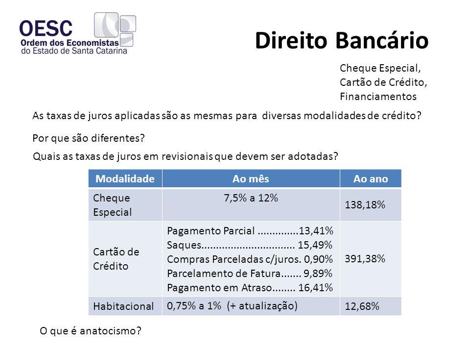 Direito Bancário Cheque Especial, Cartão de Crédito, Financiamentos Quais as taxas de juros em revisionais que devem ser adotadas.
