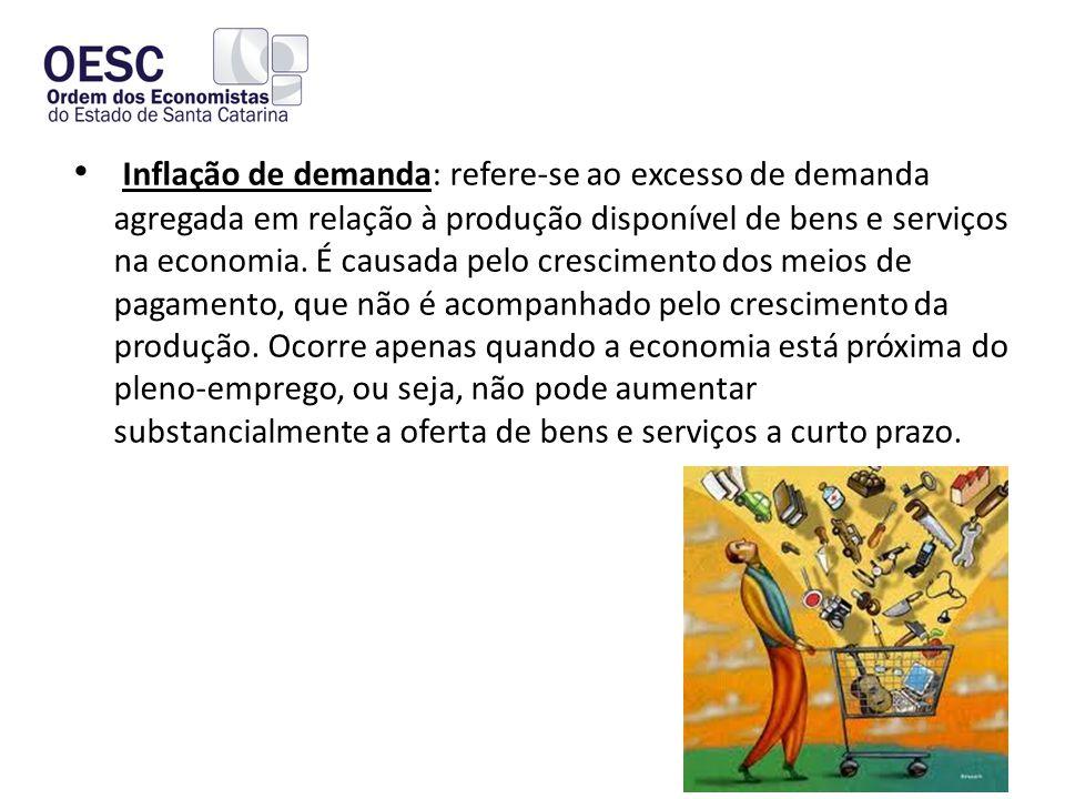 • Inflação de demanda: refere-se ao excesso de demanda agregada em relação à produção disponível de bens e serviços na economia.