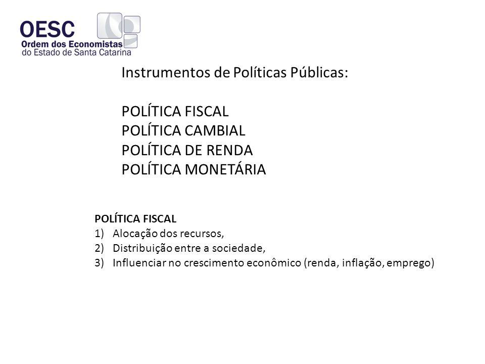 Instrumentos de Políticas Públicas: POLÍTICA FISCAL POLÍTICA CAMBIAL POLÍTICA DE RENDA POLÍTICA MONETÁRIA POLÍTICA FISCAL 1)Alocação dos recursos, 2)Distribuição entre a sociedade, 3)Influenciar no crescimento econômico (renda, inflação, emprego)
